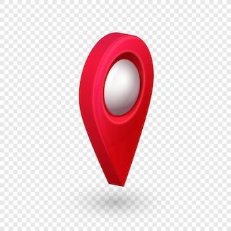 Mapa lokalizacji wskaźnik 3d pin ze świecącą bańką szklaną na przezroczystym tle