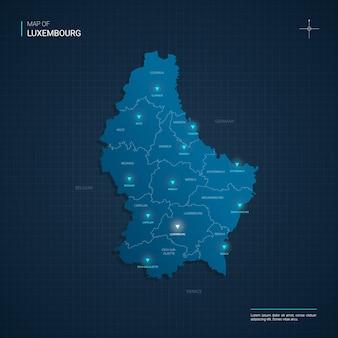 Mapa luksemburga z niebieskimi punktami światła neonowego