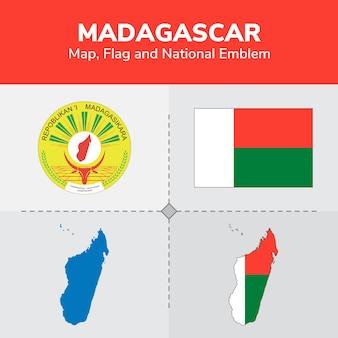 Mapa madagaskaru, flaga i godło państwowe