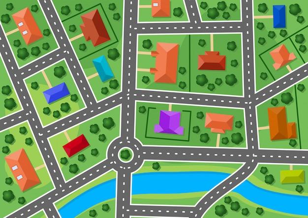 Mapa małego miasteczka lub wsi na przedmieściach