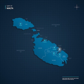Mapa malty z niebieskimi punktami światła neonowego
