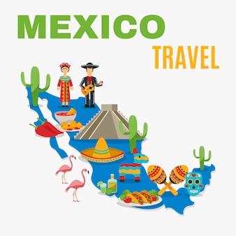 Mapa meksyk w tle