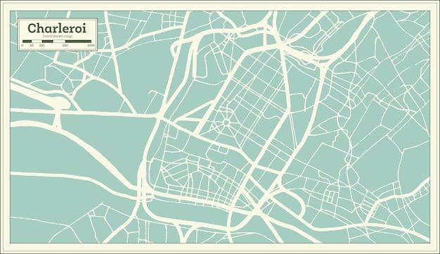 Mapa miasta charleroi w stylu retro. mapa przeglądowa. ilustracja wektorowa.