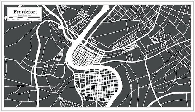 Mapa miasta frankfort usa w stylu retro. mapa przeglądowa. ilustracja wektorowa.