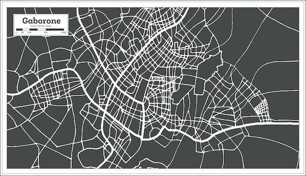 Mapa miasta gaborone w botswanie w stylu retro. mapa przeglądowa.