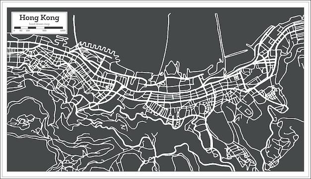 Mapa miasta hong hong chiny w stylu retro. ilustracja wektorowa. mapa przeglądowa.