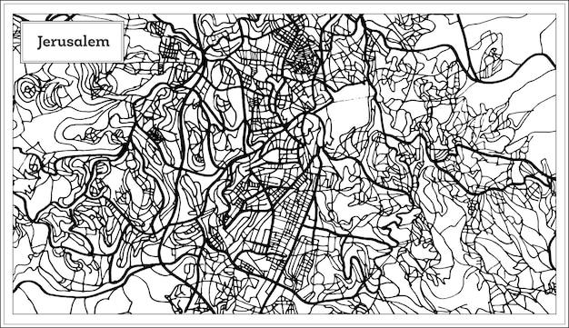 Mapa miasta jerozolima izrael w kolorze czarno-białym. ilustracja wektorowa. mapa przeglądowa.