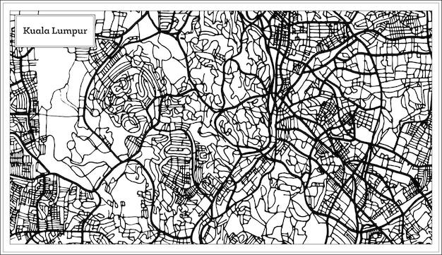 Mapa miasta kuala lumpur malezja w kolorze czarno-białym. mapa przeglądowa. ilustracja wektorowa.