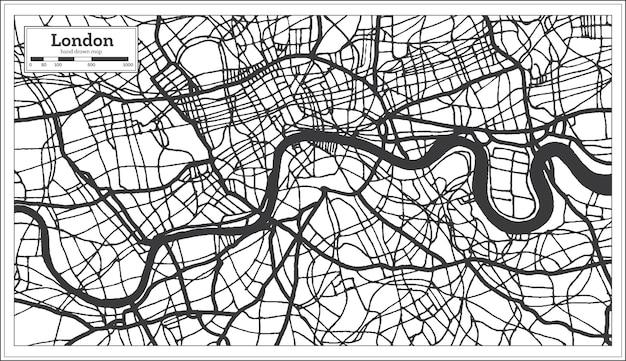 Mapa miasta londyn anglia w stylu retro w kolorze czarno-białym. mapa przeglądowa. ilustracja wektorowa.