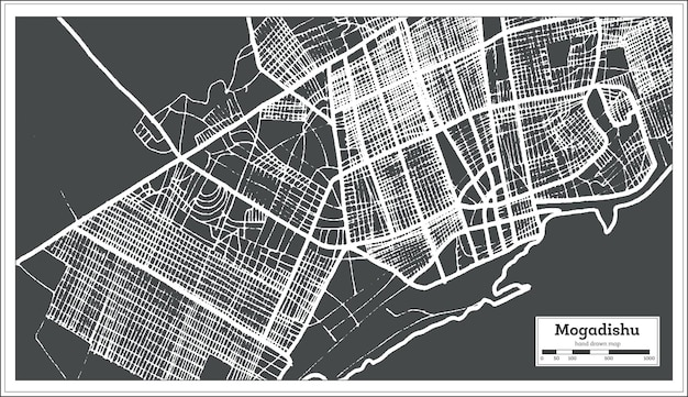 Mapa miasta mogadiszu somalii w stylu retro. mapa przeglądowa. ilustracja wektorowa.