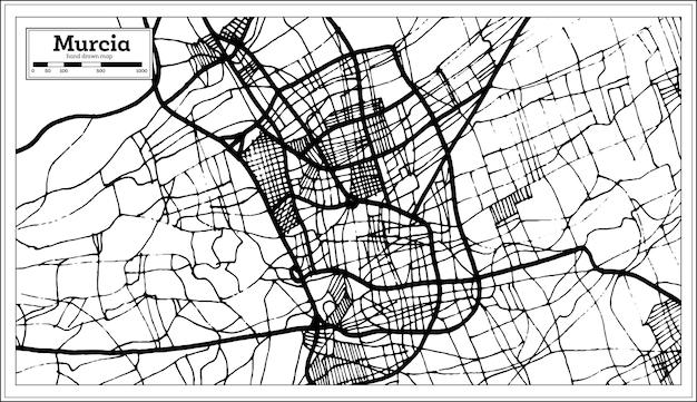 Mapa miasta murcia hiszpania w stylu retro. mapa przeglądowa. ilustracja wektorowa.