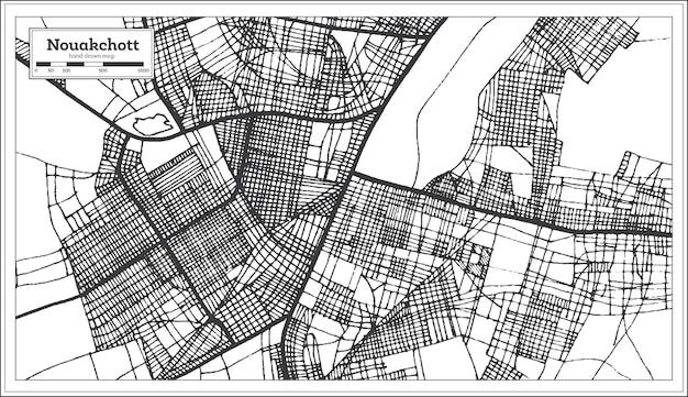Mapa miasta nawakszut w mauretanii w kolorze czarno-białym. mapa przeglądowa. ilustracja wektorowa.