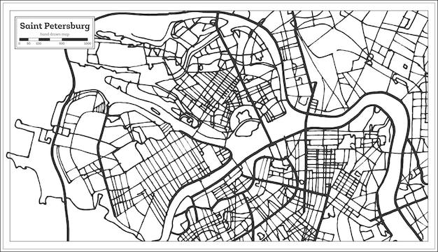 Mapa miasta rosji sankt petersburg w stylu retro. mapa przeglądowa. ilustracja wektorowa.