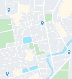 Mapa miasta streszczenie z pinami. aplikacja do nawigacji