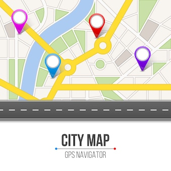 Mapa miasta ulicy drogi plansza nawigacja.