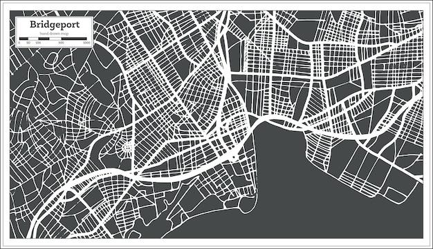Mapa miasta usa bridgeport w stylu retro. mapa przeglądowa. ilustracja wektorowa.