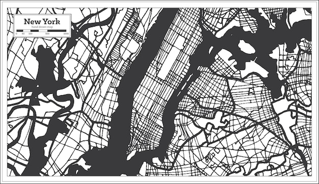 Mapa miasta usa w nowym jorku w kolorze czarno-białym