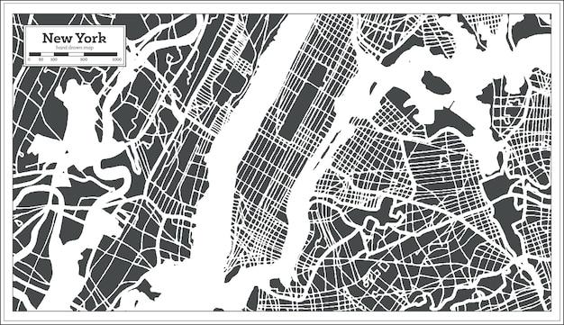 Mapa miasta usa w nowym jorku w stylu retro. mapa przeglądowa. ilustracja wektorowa.