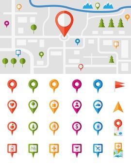 Mapa miasta z dużym zestawem kolorowych wskaźników pinezek, z których każdy przedstawia inną infografikę wektorową