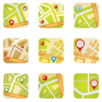 Mapa miasta z ikonami gps.