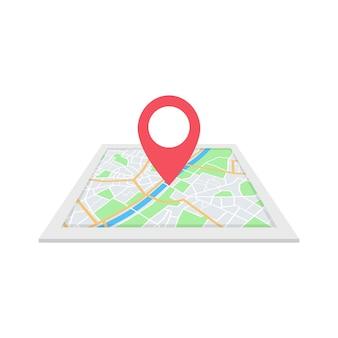 Mapa miasta z nawigacją. znalezienie koncepcji drogi.