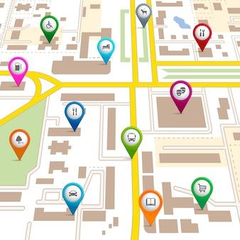 Mapa miasta ze wskazówkami pinezkowymi podającymi lokalizację różnych usług, takich jak teatr garaż hotel szpital supermarket restauracja parking pies spacerujący biblioteka autobusowa i parking