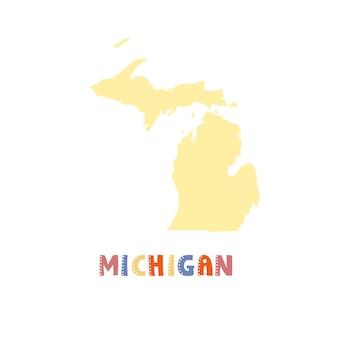 Mapa michigan na białym tle. kolekcja usa. mapa stanu michigan - żółta sylwetka. napis w stylu doodling na białym