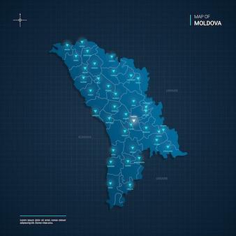 Mapa mołdawii z niebieskimi punktami światła neonowego