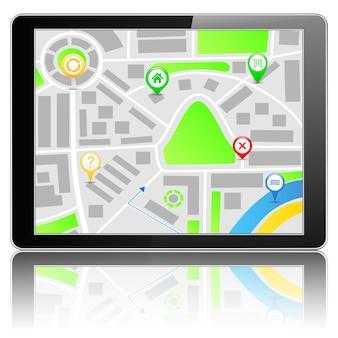 Mapa na komputerze typu tablet