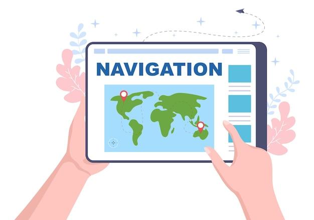 Mapa nawigacji gps i kompas w aplikacji do wyszukiwania lokalizacji pokazuje pozycję lub trasę, którą jedziesz. ilustracja wektorowa tła