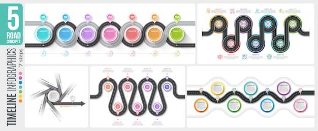 Mapa nawigacyjna 7 kroków osi czasu infografika koncepcje