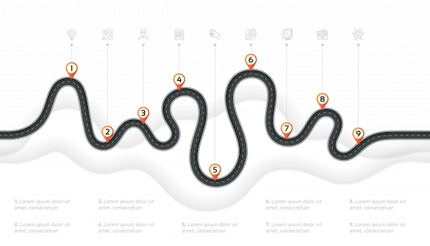 Mapa nawigacyjna informacje kroki osi czasu