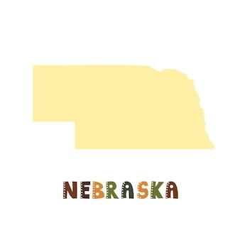 Mapa nebraski na białym tle. kolekcja usa. mapa nebraski - żółta sylwetka. napis w stylu doodling na białym