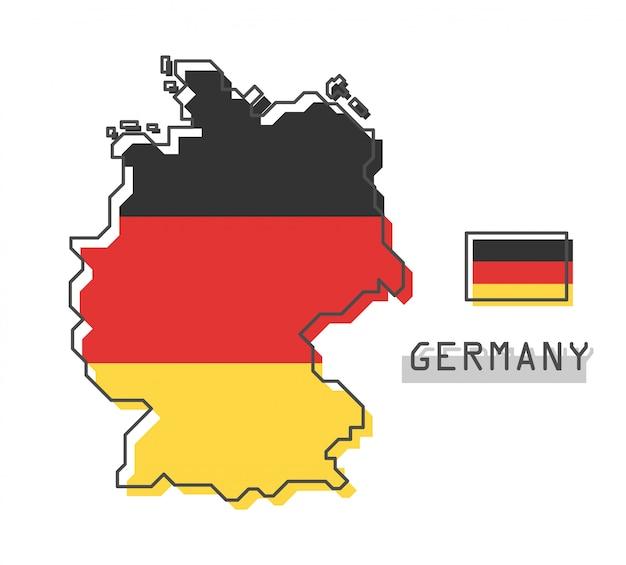 Mapa niemiec i flaga