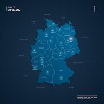 Mapa niemiec z niebieskimi punktami świetlnymi neonu - trójkąt na ciemnoniebieskim gradiencie