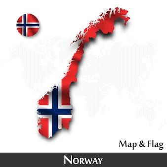 Mapa norwegii i flaga. machający wzór tkaniny. kropka tło mapy świata. wektor