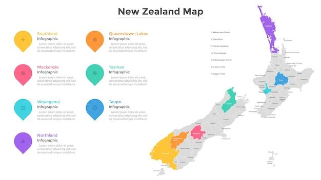 Mapa nowej zelandii podzielona na regiony. terytorium kraju z granicami regionalnymi, wskazanie podziału terytorialnego. szablon projektu nowoczesny plansza. ilustracja wektorowa płaskie dla broszury turystycznej.