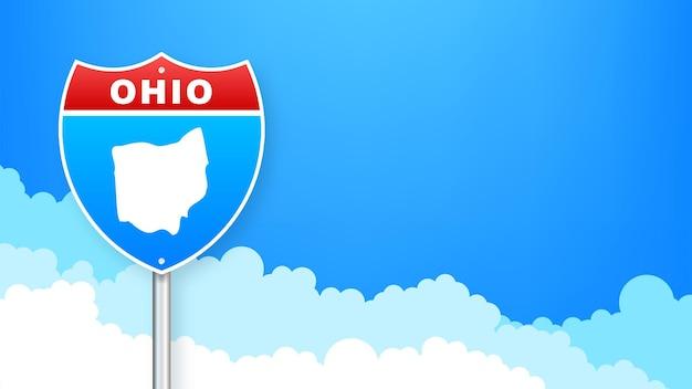 Mapa ohio na znak drogowy. witamy w stanie ohio. ilustracja wektorowa.