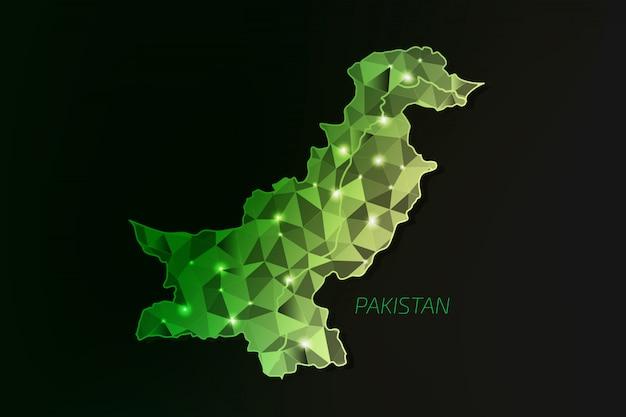 Mapa pakistanu wielokąta ze świecącymi światłami