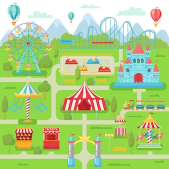 Mapa parku rozrywki. rodzinna rozrywka festiwalu przyciągań karuzela, kolejka górska i diabelski młyn ilustracja