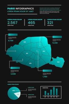 Mapa paryża infografiki gradientu