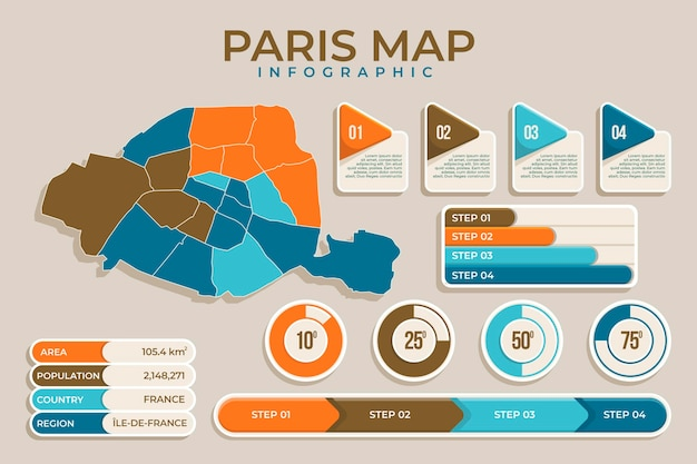 Mapa paryża infografiki szablon płaska konstrukcja