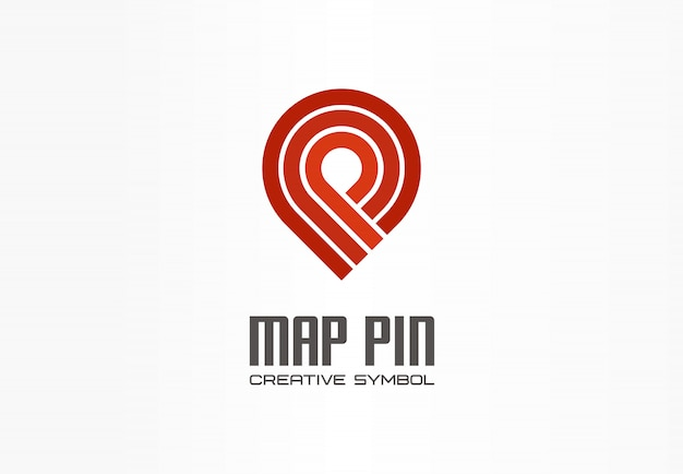 Mapa pin koncepcja symbol kreatywnej nawigacji. zakończ logo transportu biznesowego znacznika lokalizacji gps. kierunek znacznika wyboru podróży, ikona logistyki.