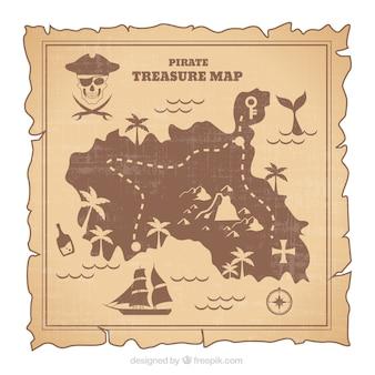 Mapa pirata skarb w stylu retro