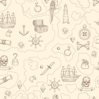 Mapa piratów bez szwu. morska szczegółowa mapa przygodowa w stylu vintage