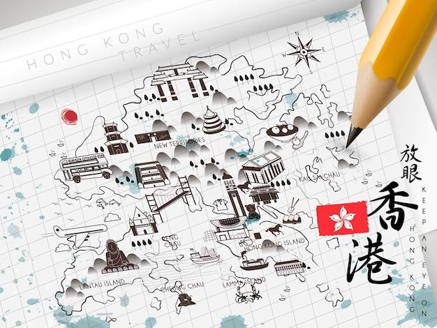 Mapa podróży hongkongu na papierze - lewy górny tytuł to podróż do hongkongu w chińskim słowie