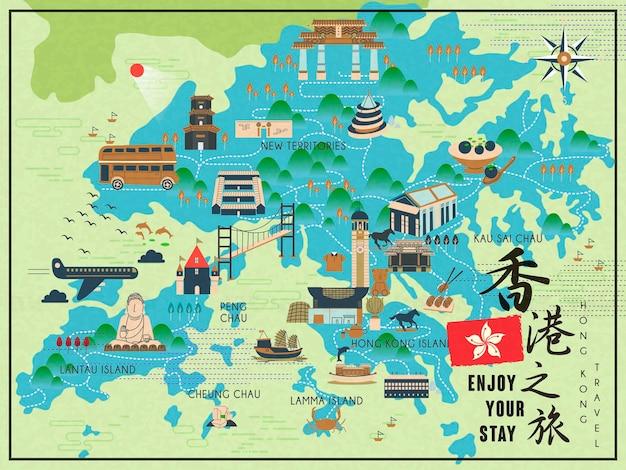 Mapa podróży hongkongu na płaskim stylu - dolne prawe słowo to podróż do hongkongu w chińskim słowie
