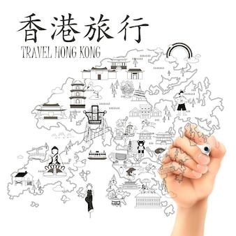 Mapa podróży hongkongu narysowana odręcznie - lewy górny tytuł to podróż do hongkongu w chińskim słowie