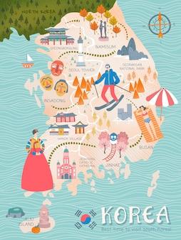 Mapa podróży po korei, piękne atrakcje korei w stylu i specjalności dla podróżujących