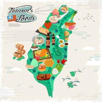 Mapa podróży pyszne przekąski tajwanu